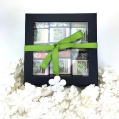 Rigid black window box with six soap gift set WEBA Natural Products cruelty free made in the Hudson valley