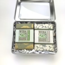 Gift tin with two shea butter soaps by WEBA Natural Products